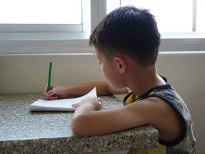 niño haciendo deberes - division andromeda
